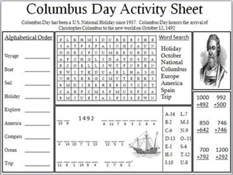 st s day activities columbus ohio columbus day activity sheet by empowered by them tpt