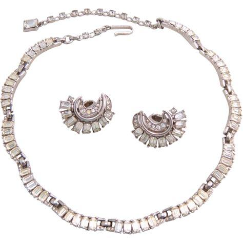 Rhinestone Necklace vintage trifari baguette rhinestone necklace and earrings