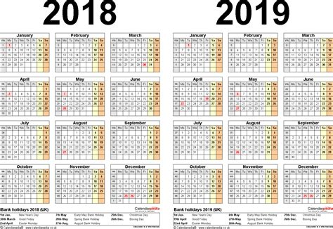 multi year calendar template two year calendars for 2018 2019 uk for excel