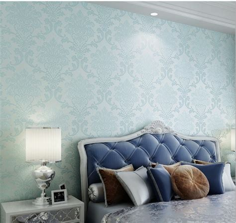 damask wallpaper bedroom bedroom ideas sofa fashion blue wallpapers 3d non woven papel de parede