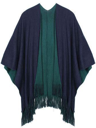 casual women contrast color tassel fringed warm shawl
