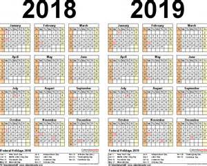 Kalender 2018 And 2019 2018 2019 Calendar Free Printable Two Year Excel Calendars