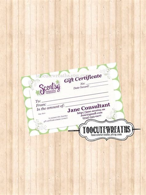 Scentsy Gift Card Template by Digital Gift Certificate Business Card Size