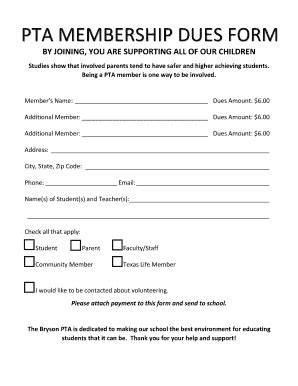 Pta Form Fill Online Printable Fillable Blank Pdffiller Membership Sign Up Template