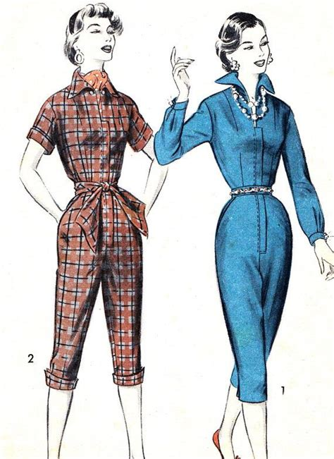 hairdos for pant romper 1950s womens jumpsuit pattern advance 7817 rockabilly