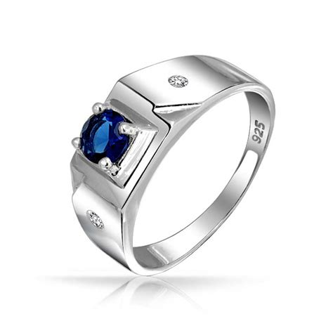 Mens Engagement Rings by Solitaire Blue Sapphire Color Cz Mens Engagement