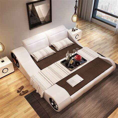 cmxcm  modern designer white leather soft double bedroom furniture  storage