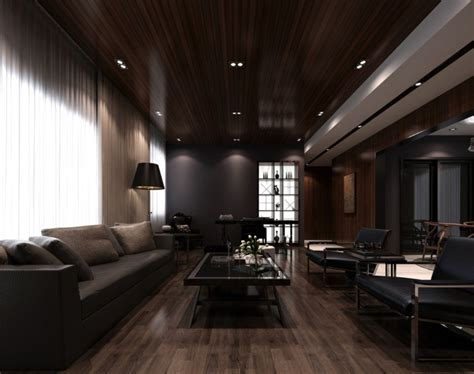 dark wood living room living room dining room ceiling wood flooring 3d house