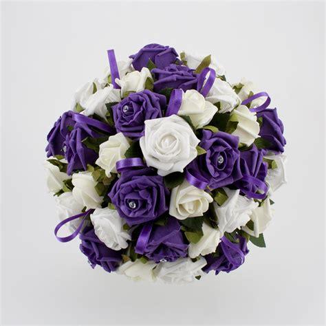 purple flower wedding bouquet photos and pretty purple wedding flowers