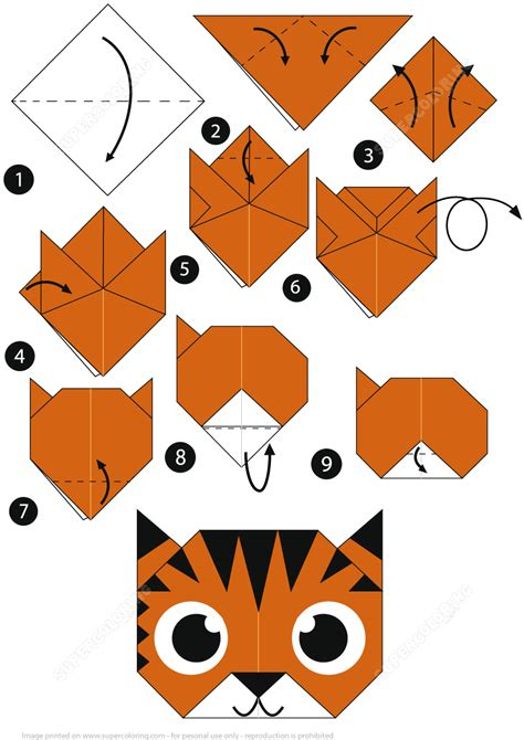 Tiger Origami - how to make an origami tiger step by step