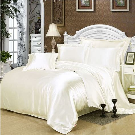 white silk bedding sets solid white black gold gray satin duvet cover