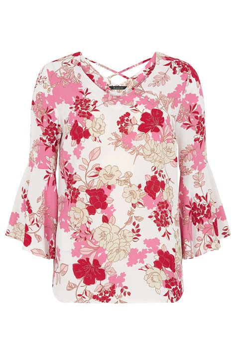 Floral Sleeve Blouse floral printed fluted sleeve blouse