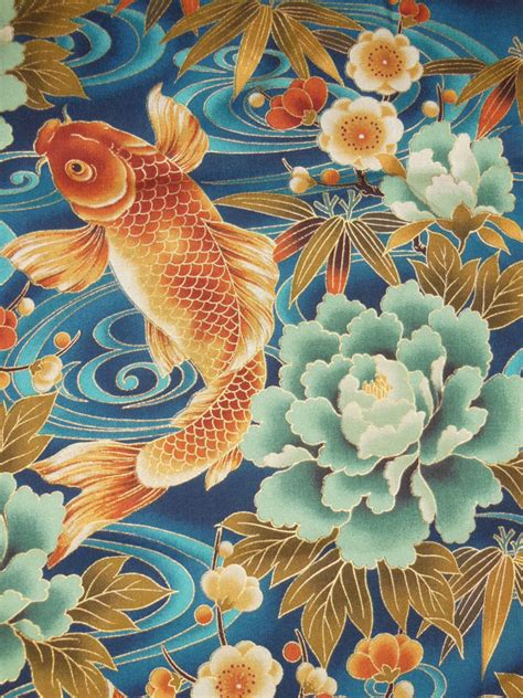 japanese kimono fabric with gold metalic outlining ocean
