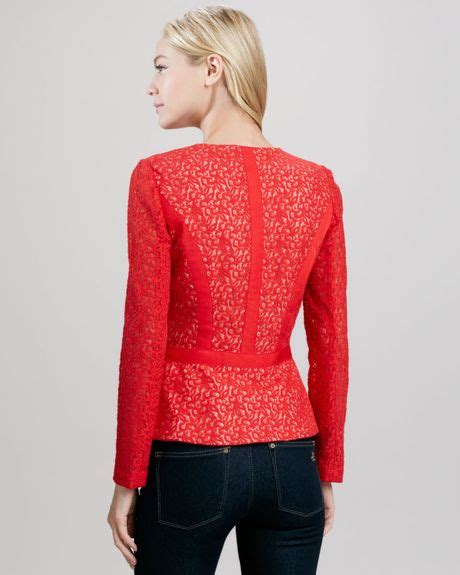 Sale Alert Erin Fetherston At Target by Erin Fetherston Lenore Lace Fitandflare Jacket In Rby