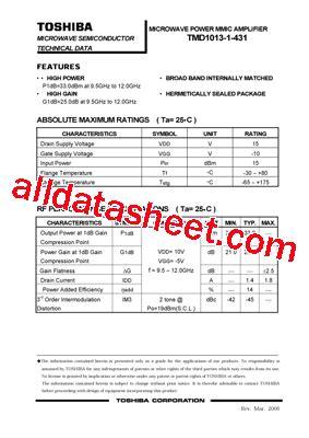 transistor w431 datasheet tmd1013 1 431 datasheet pdf toshiba semiconductor
