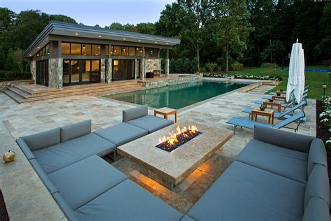 modern pool house travertine patios and modern pool house vienna va