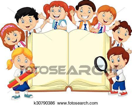 clip art of cartoon school children with book k30790386