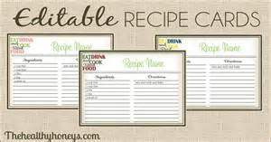 Recipes Card Templates Real Food Recipe Cards Diy Editable The Healthy Honeys