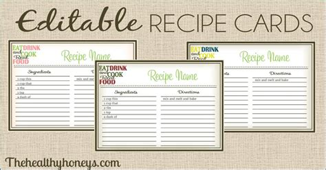 printable recipe card templates real food recipe cards diy editable the healthy honeys