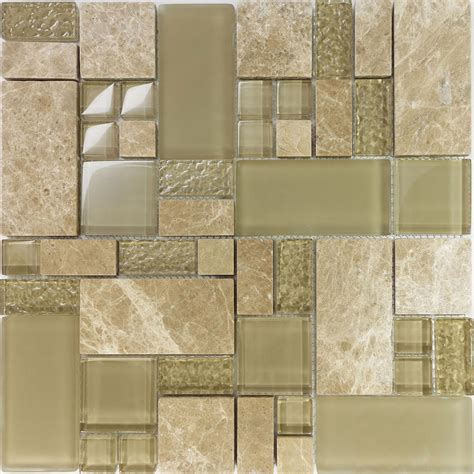 1sf brown stone glass blend pattern mosaic tile kitchen 1sf beige pattern glass stone marble blend mosaic tile