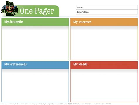 One Pager I M Determined One Pager Template