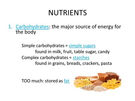 carbohydrates energy source name day period