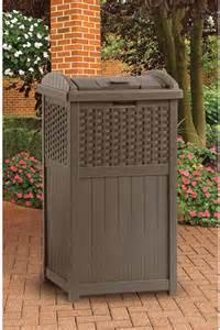 patio trash can suncast trash hideaway resin wicker contemporary