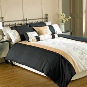 black and gold duvet sets riva home scroll embroidery taffeta duvet cover set black