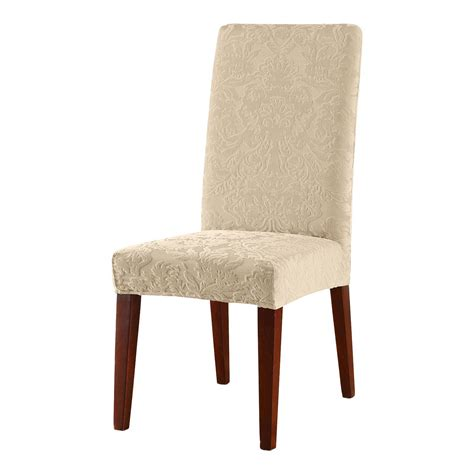 Stretch Jacquard Damask Short Dining Room Chair Cover Sure Fit Stretch Dining Chair Cover