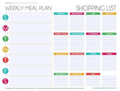 monthly grocery list template 17 best ideas about menu planning printable on