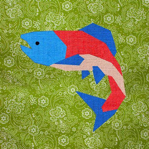 Fish Quilt Blocks by Salmon Paper Pieced Quilt Block Pattern Pdf