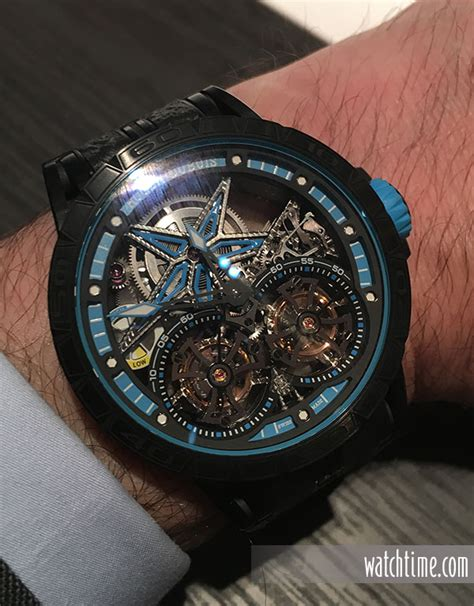 Roger Dubuis Excalibur Dual Tourbillon Black 10 wrist from sihh 2017 watchtime usa s no 1 magazine