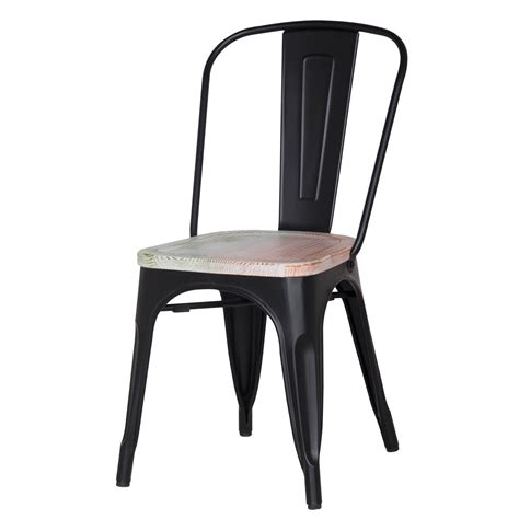 Metal Chairs Dining Joveco Stackable Distressed Metal Dining Chairs With Wooden Seat Set Of 2 Black Joveco