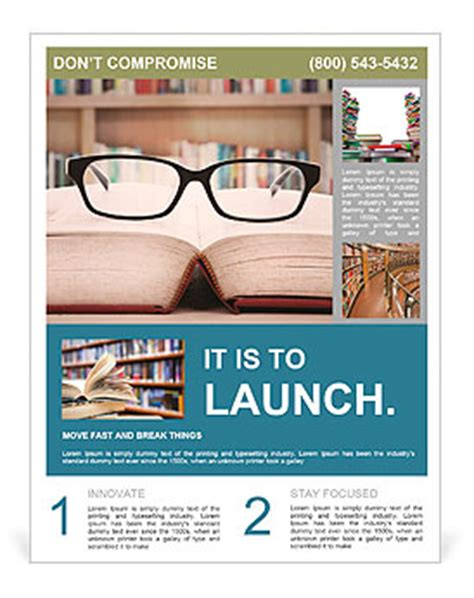 read poster template closeup of reading glasses on the book in the