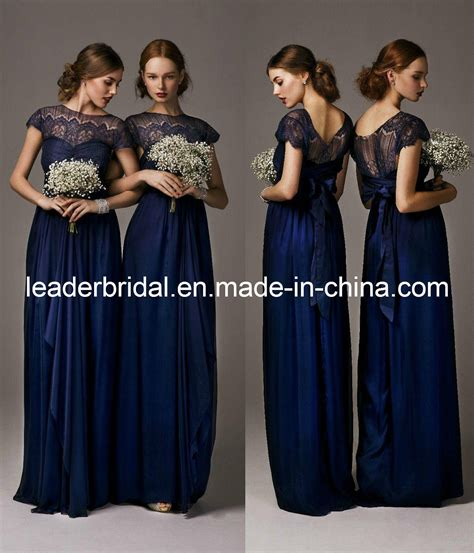 Navy Bridesmaid Dress by China New Bridesmaid Dresses Navy Blue Lace Chiffon Empire