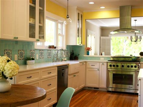 yellow kitchen cabinets eclectic kitchen transitional yellow kitchen with turquoise backsplash hgtv