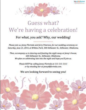 informal wedding celebration wording invitation wording for a casual wedding lovetoknow