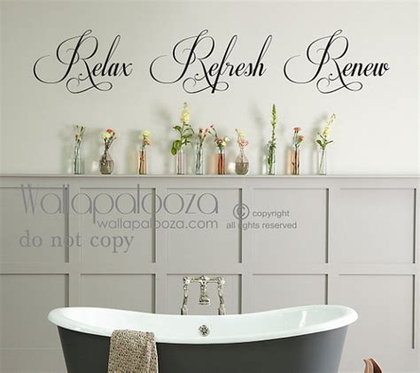 bathroom decal bathroom wall art bathroom wall decal relax refresh renew