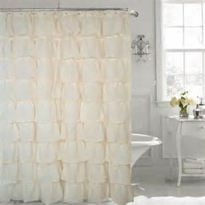 gypsy cream shabby chic ruffled fabric shower curtain