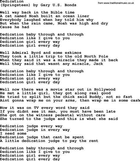 song dedications bruce springsteen song dedication lyrics