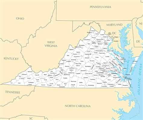 Cities In Virginia Map by Virginia Cities And Towns Mapsof Net