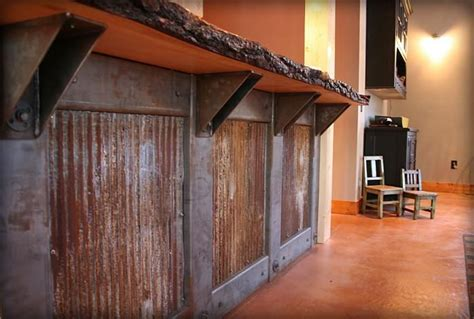how to make cabinets look rustic rustic reclaimed tin with wood slab counter top would