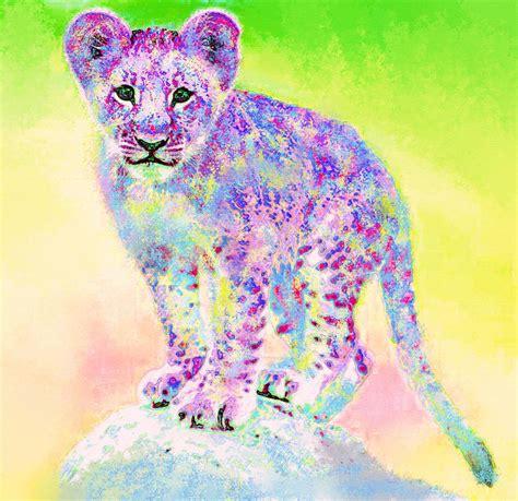 Colored Duvet Covers Rainbow Lion Cub Digital Art By Jane Schnetlage