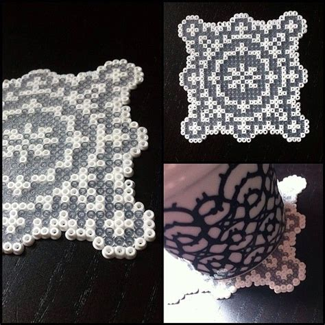 Mini Perler 26mm 2 coaster hama mini by alsterbead inspired by a cross