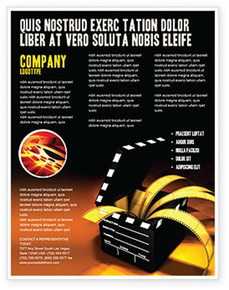 movie clapper flyer template background in microsoft word