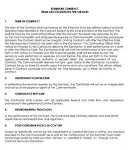 Free Service Agreement Contract Template by Sle Service Agreement Template 6 Free Documents