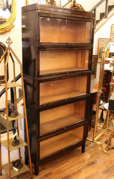 shaw walker antique brown barrister bookcase at 1stdibs