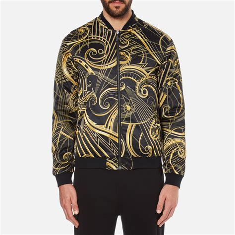 versace s all print jacket black clothing