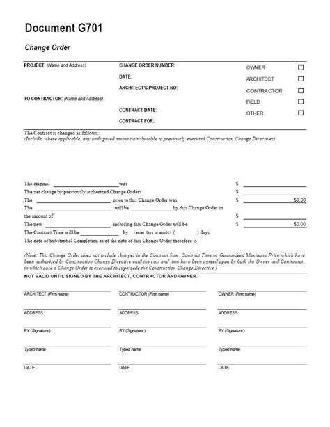 aia g701 change order form template for excel change