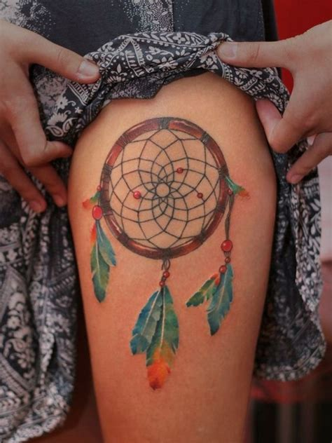 coloured dreamcatcher tattoo 28 cute dreamcatcher tattoos for girls